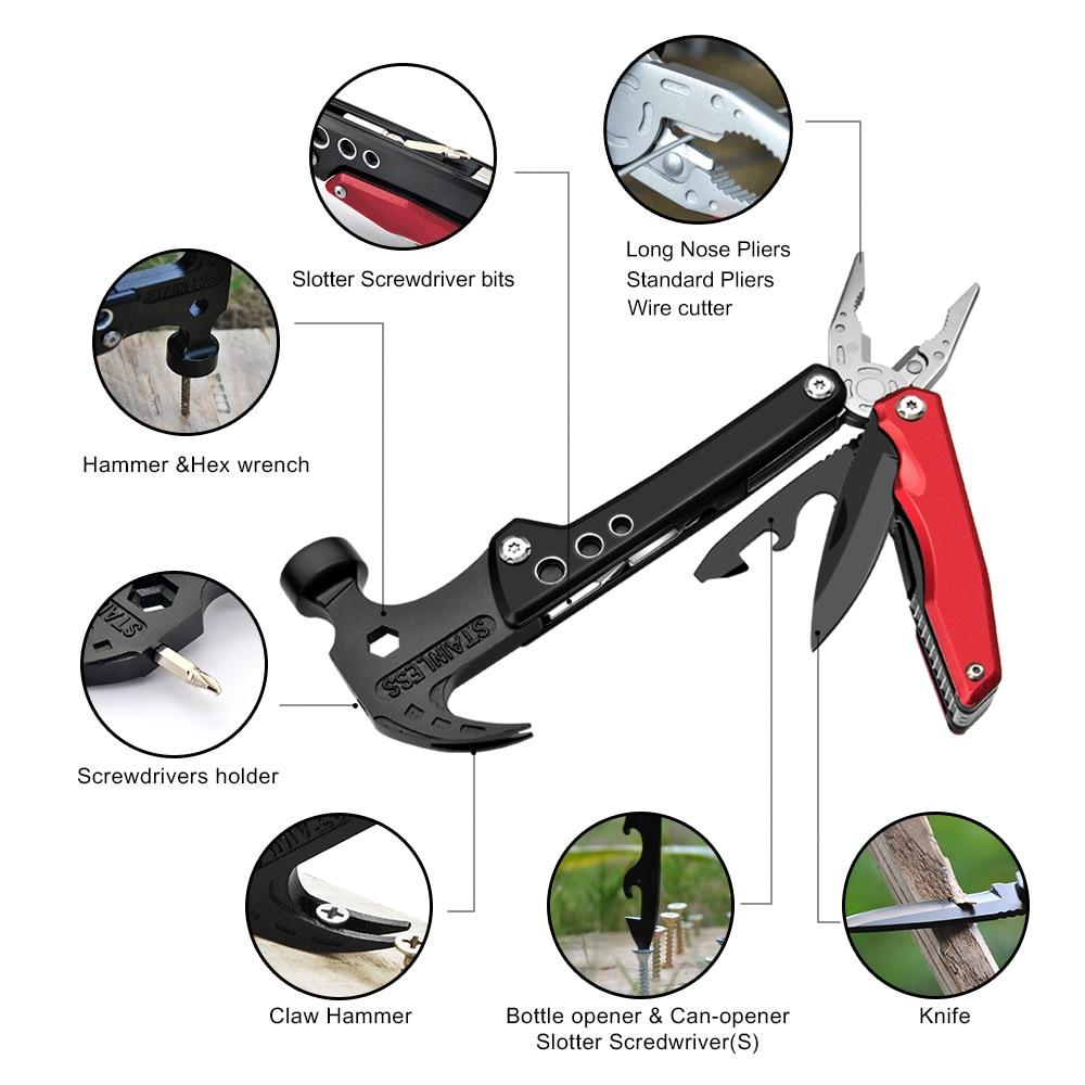 Multifunções garra martelo alicate faca dobrável acampamento sobrevivência caça ferramenta de segurança martelo abridor garrafa chave fenda multitool
