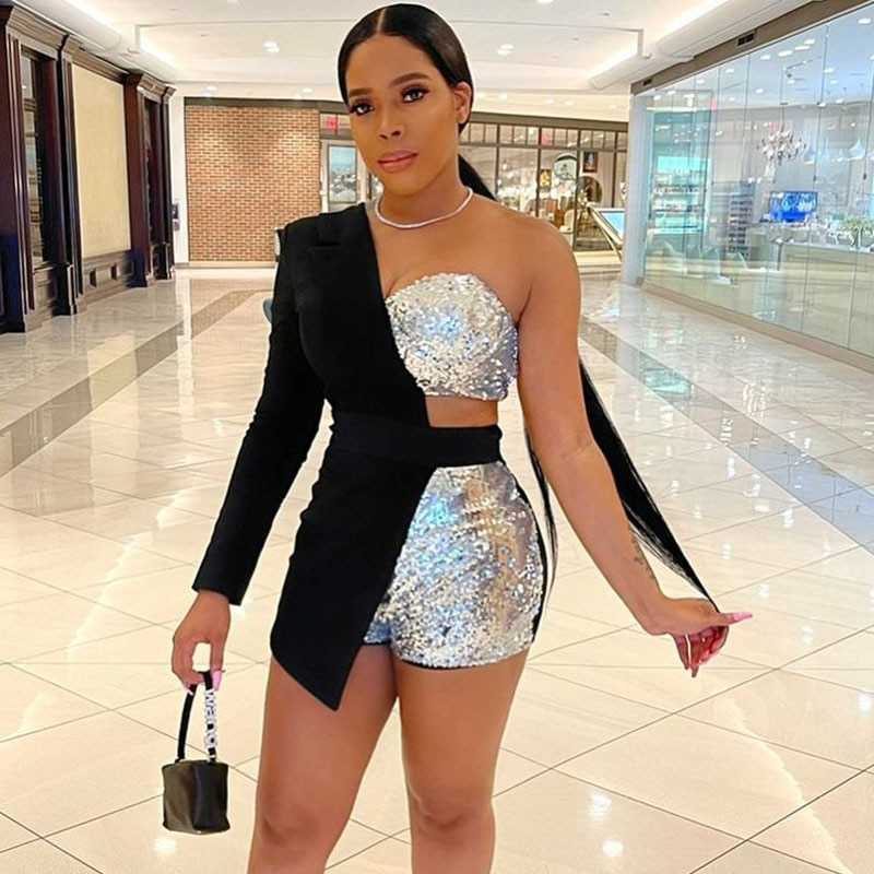 Sequin 3 Piece Set Women One Shoulder Blazer Coat + Crop Top + Shorts Suits Sexy Club Outfits Festival Clothing Matching Sets