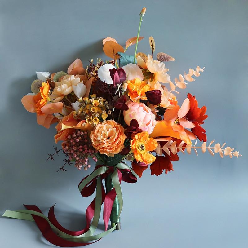 Simulation the Bridal Rose Bouquets Retro Autumn Orange Married Wedding Decoration Home Bouquet
