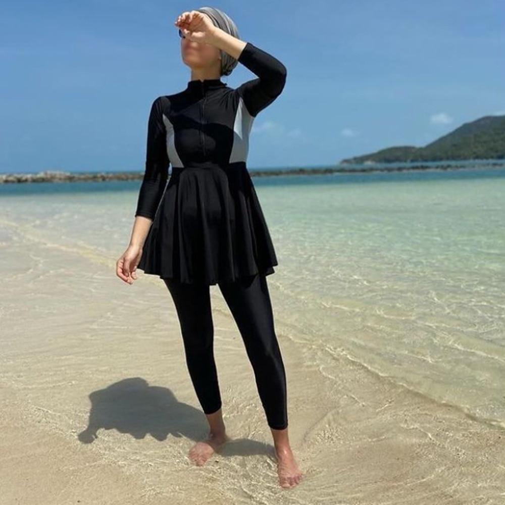 2021 Muslim Swimwear Women Modest Patchwork Hijab Long Sleeves Sport Swimsuit 3pcs Islamic Burkini Wear Bathing Suit S-4XL