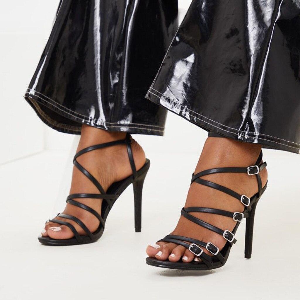 2020 lujo Mujer Zapatos de stripper caliente Pleaser tacones Sandalias Mujer Sexy hebilla Correa sandalias para discoteca chicas cuero striptease zapatos