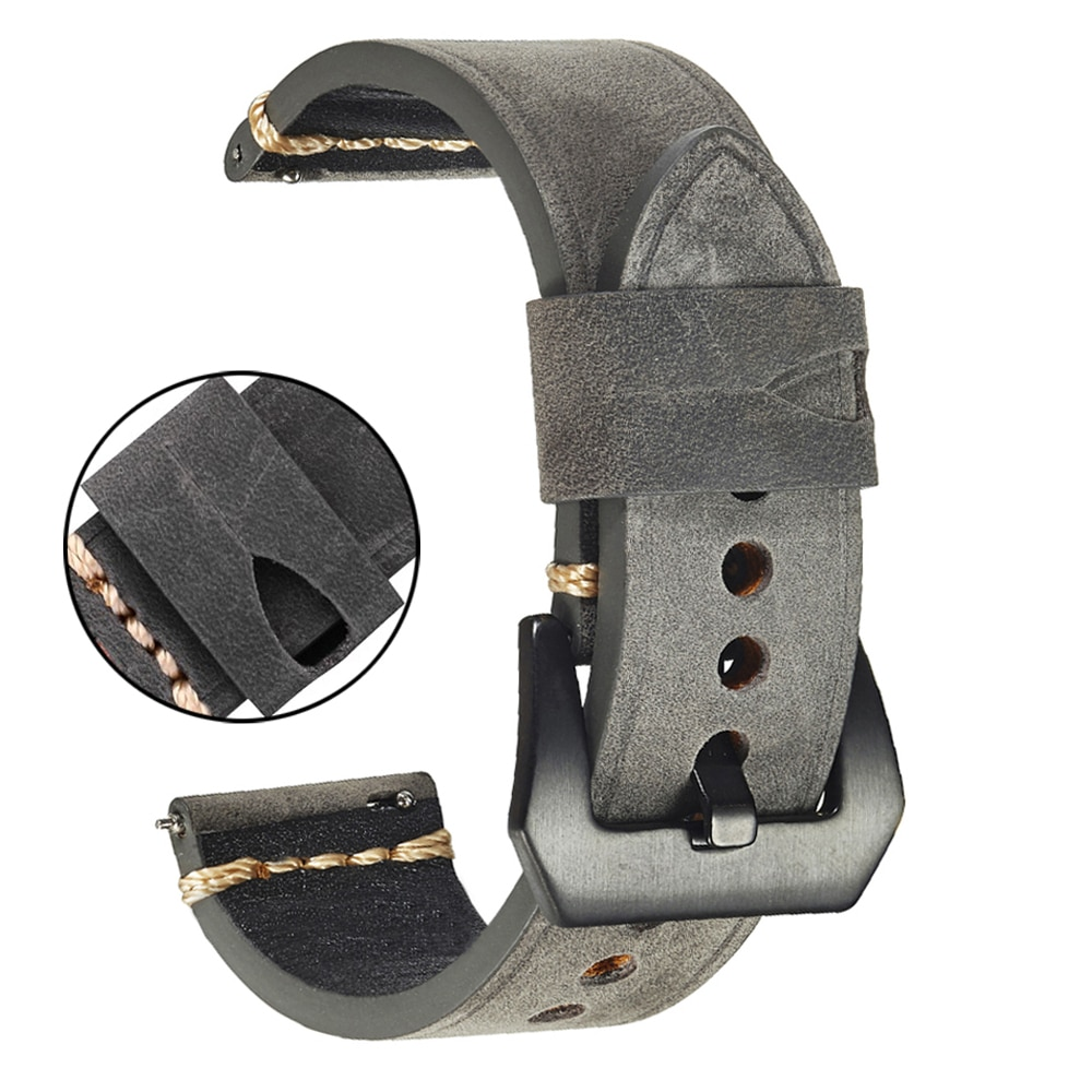 Men's Genuine Leather Watch Band Bracelet 20mm 22mm Vintage Cowhide Watch Strap With Stainless Steel Buckle Watch