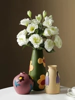 nordic modern creative color painted morandi ceramic vase dried flower ornaments home hallway electric cabinet decorations