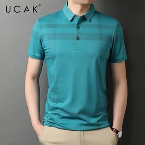 UCAK Brand Classic Turn-down Collar Cotton T Shirt Men Clothes Summer New Fashion Tops Streetwear Casual Soft Tshirt Homme U5471