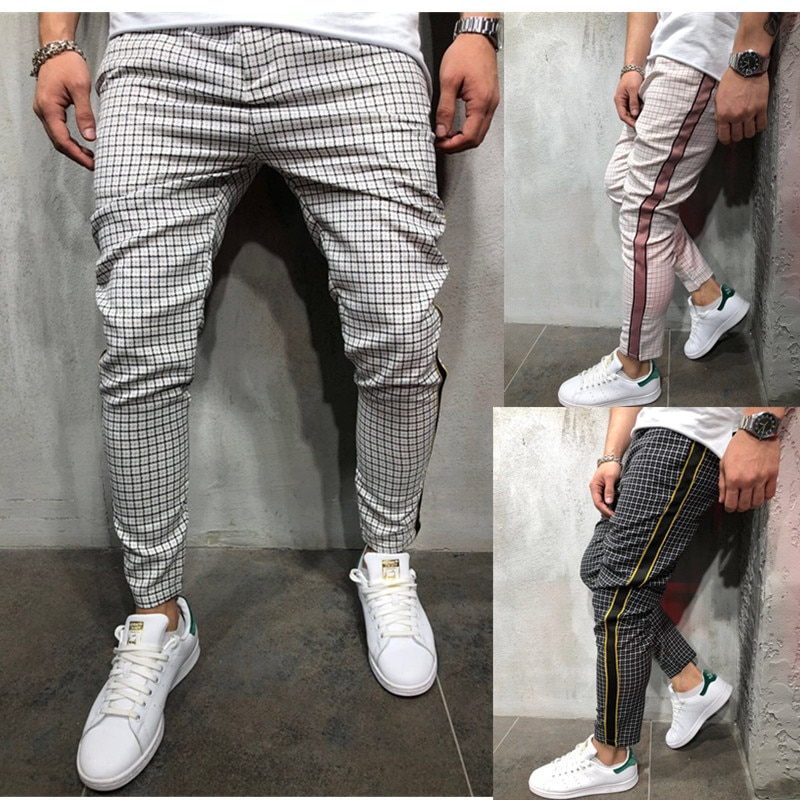 Mens Streetwear Casual Plaid Ankle-Length Pants Men Trousers Hip Hop Jogger Pants Men Sweatpants Japanese Streetwear Men Pants