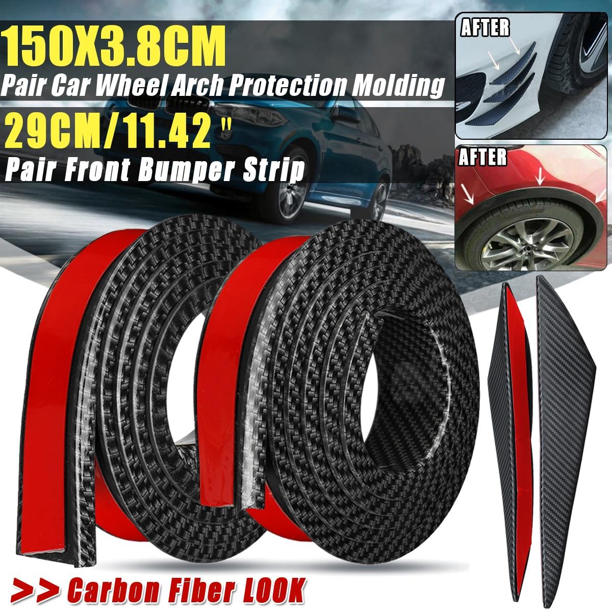Universal 4x 2x 150x3.8CM Rubber Car Mudguard Trim Wheel Arch Protection Moldings Black/Carbon Black Front Bumper Anti-rub Strip