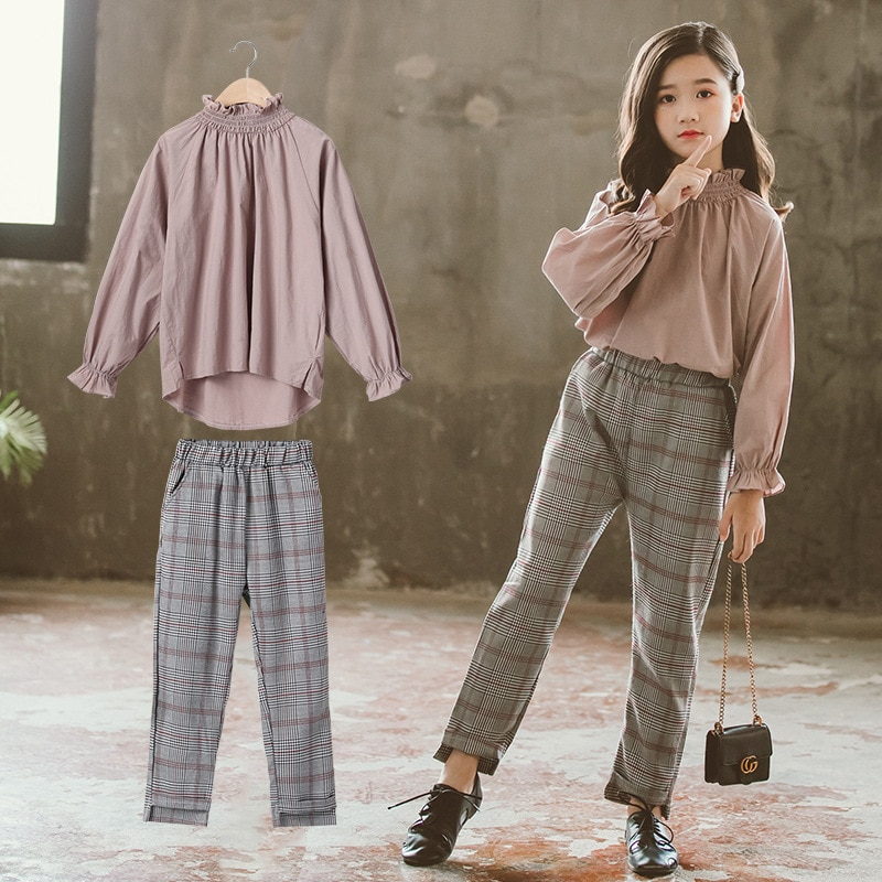 Conjuntos de roupas para meninas crianças moda manga longa t-shirts + calças casuais definir crianças outono terno meninas roupas 8 10 12 anos