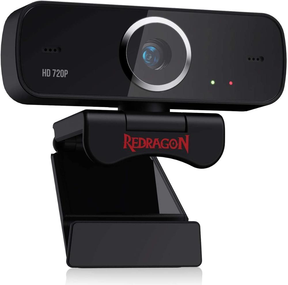 Redragon-كاميرا ويب GW600 720P ، مع ميكروفون مزدوج ، دوران 360 درجة ، 2.0 USB ، كمبيوتر