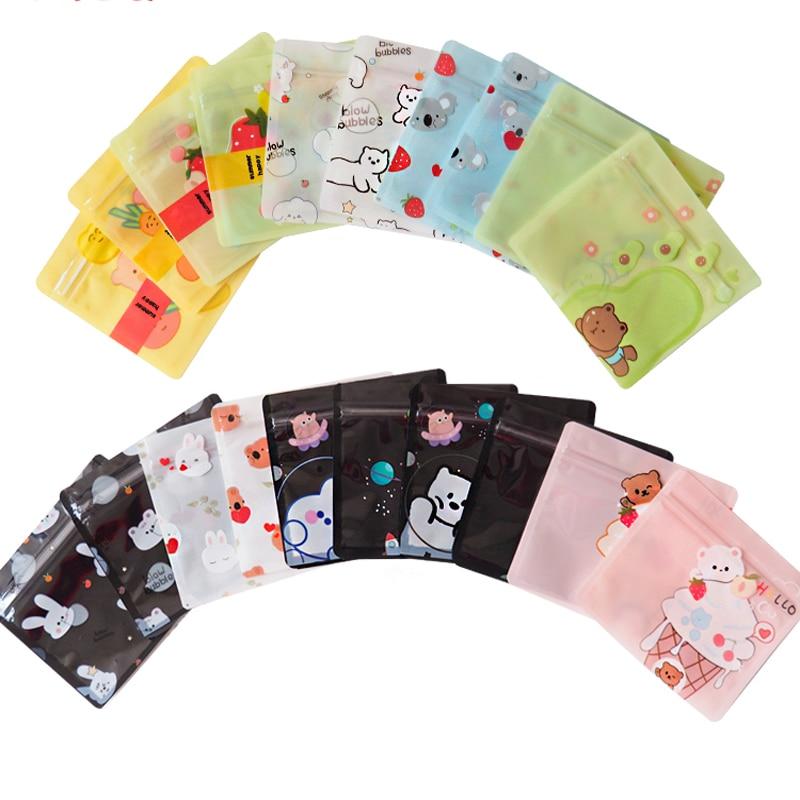 100pcscolor كيس بقالة الكرتون الذاتي حقيبة عزل لطيف هدية صغيرة التفاف حقيبة صغيرة حقيبة تخزين صغيرة مختومة حقيبة