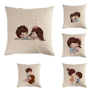 45cm*45cm Happy Valentines Day Cartoon Couple Cushion Cover and Sofa Pillow Case Home Decorative Pillow Cover