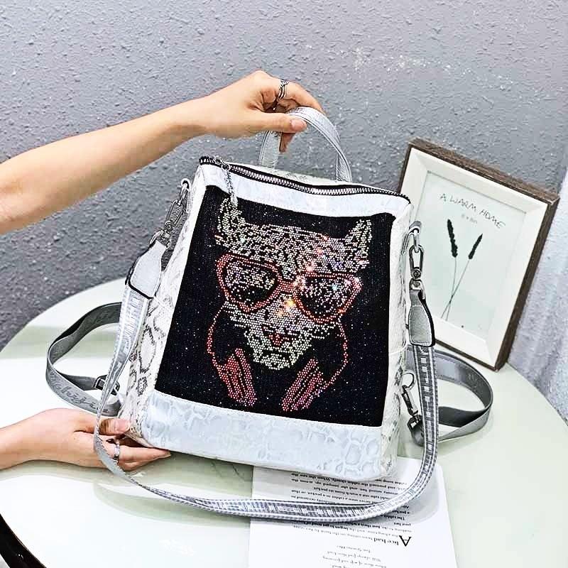 Women's Backpacks Animal Prints Rhinestone Mochila Femenina Luxury Designer School Bags Shoulder Travel Sac A Dos