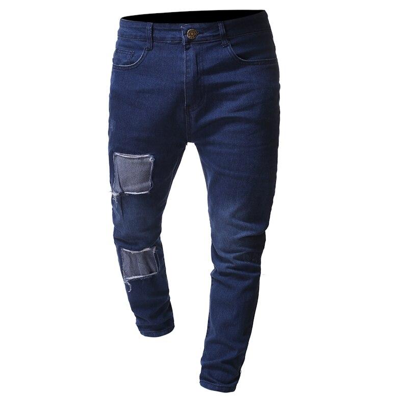 New Fashion Jeans Men Hip Hop Men's Patch Decoration Men's Denim Pants Mens Clothing Time Limited