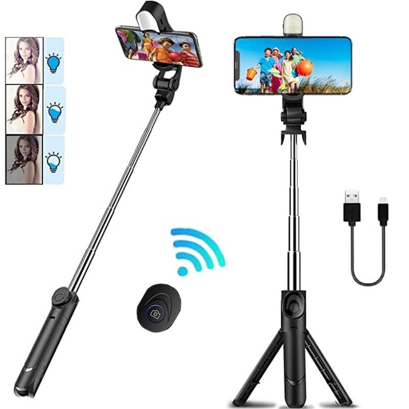 DOODBI 3 In 1 Lightweight Extendable Bluetooth Selfy Sticks Tripod Detachable Wireless Remote Shutter Foldable Mini Selfie Stick