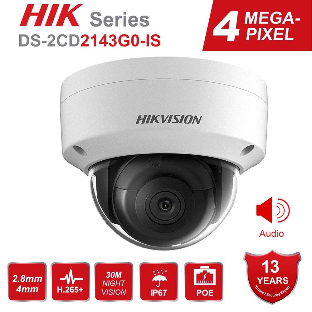 Hikvision 4MP POE IP Cámara H.265 DS-2CD2143G0-IS 4 megapíxeles al aire libre WDR Video vigilancia cámaras de seguridad IR 30M Audio