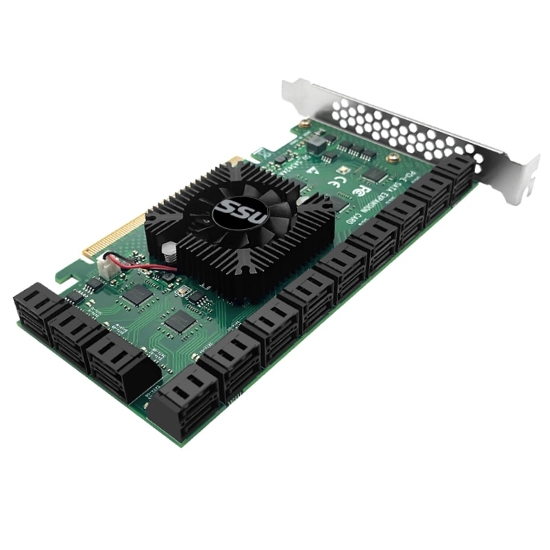 Chi a Mining Riser PCIE SATA Card 24 Port with Cable 6Gbps SATA 3.0 Controller PCI Express Expansion Card Support SATA3.0 Device