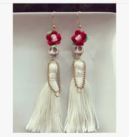 white skulls with white long tassels dangle earringsgothic skull dangle earringswomen new fashionday of the dead jewelry