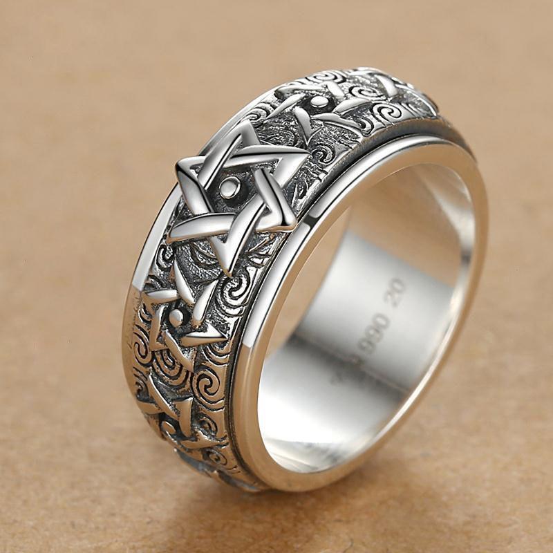 Новинка-вращающееся-серебряное-кольцо-мужское-Ретро-властительное-6-конечное-кольцо-из-стерлингового-серебра-широкая-версия-Тайский-Ука