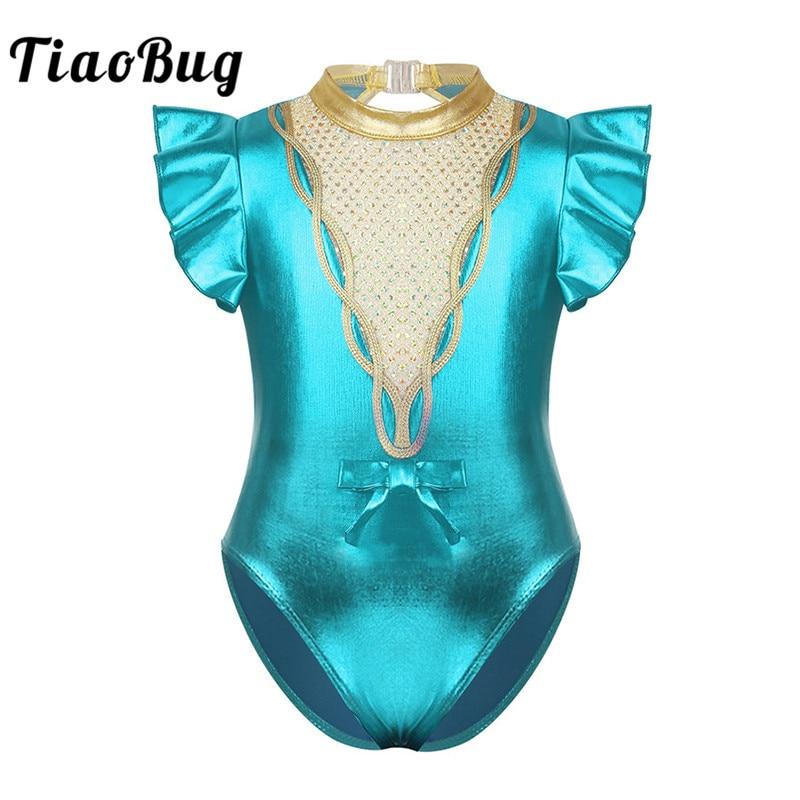 TiaoBug niños niñas metálico brillante lentejuelas mangas cortas Flutter Ballet gimnasia leotardo niño escenario baile disfraz