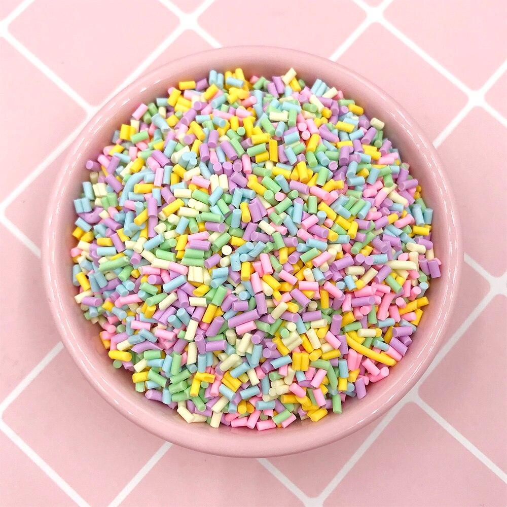 50g corto cilíndrico Fimo polímero arcilla caliente Sprinkles para Slime tarta falsa manualidades de decoración pequeños accesorios de plástico clei