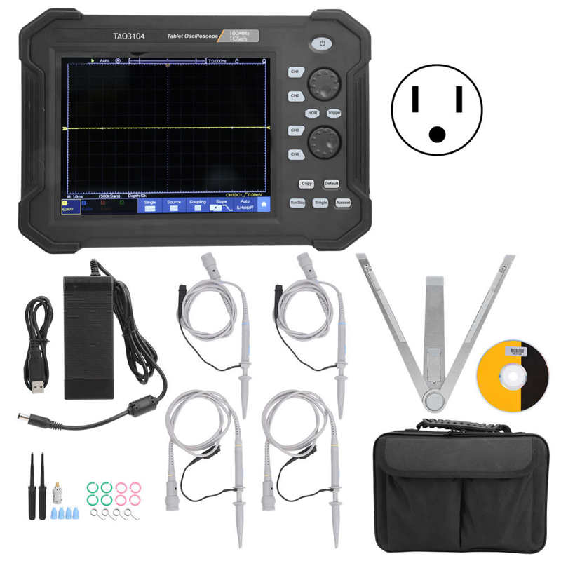 Tela de Toque Osciloscópio Digital Tablet Osciloscópios Kit Tao3104 100mhz 4ch Lcd