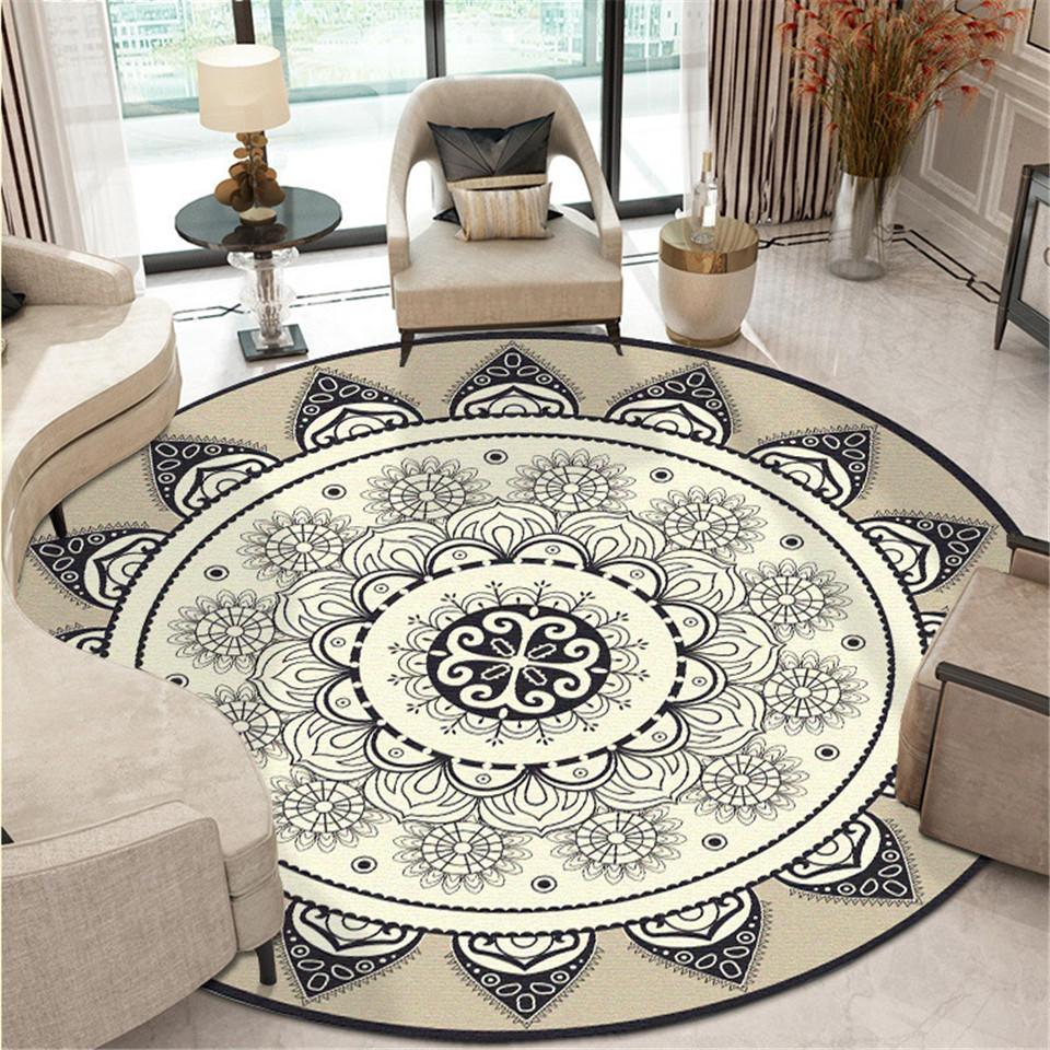 Étnico bohemio Mandala alfombra de piso redondo suave clásico geométrico flor estera de sofá Europa Retro alfombra para superficie grande para sala de estar