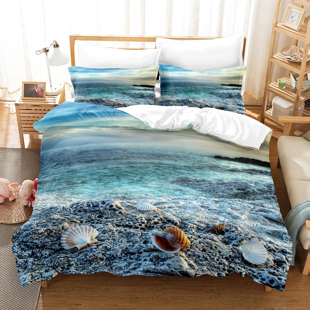 طقم سرير على شاطئ البحر مشهد واحد التوأم كامل الملكة الملك الحجم السفينة طقم سرير شجرة جوز الهند للأطفال غرفة نوم Duvetcover مجموعات 11