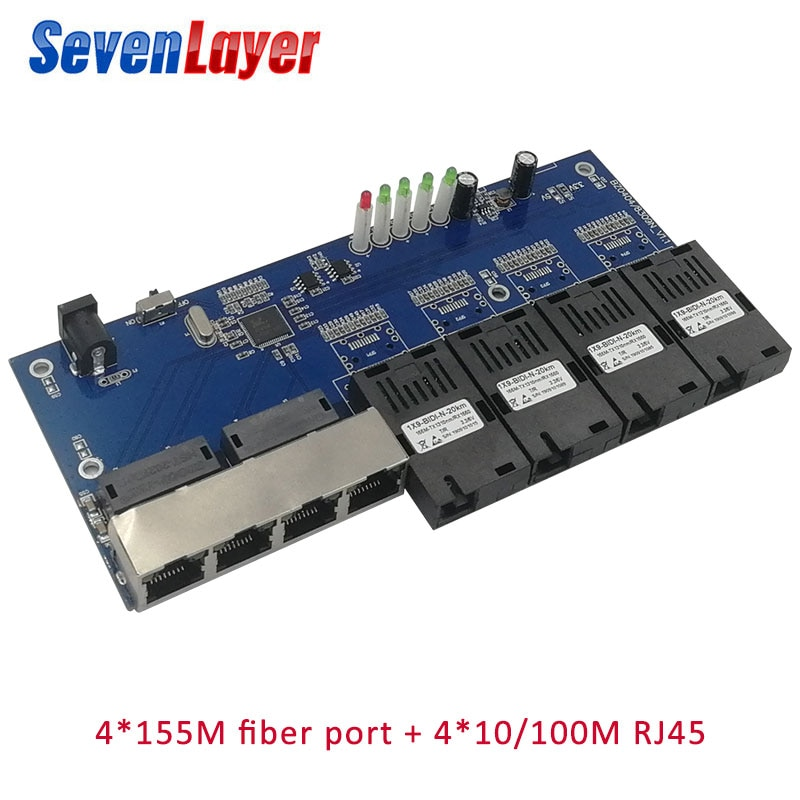 Ethernet Faser schalter 4 RJ45 4 SC Optischen Medien Konverter Single mode fiber Port 10/ 100M PCBA