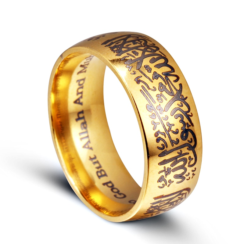 Anillo de joyería negro o plata de moda para hombre, titanio, acero, musulmán, fe, anillo de Harra, islamismo, la gente religiosa, lleva anillos al por mayor