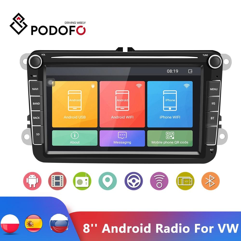 Podofo 8'' Android Radio 2Din GPS Bluetooth Car Stereo Radio Autoradio Multimedia Player For VW/Volkswagen/Golf/Passat/b7/b6