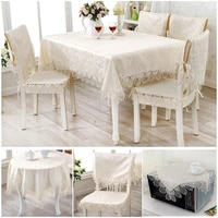 1pc beige lace jacquard table cover table runner dust proof table cloth european style home decoration