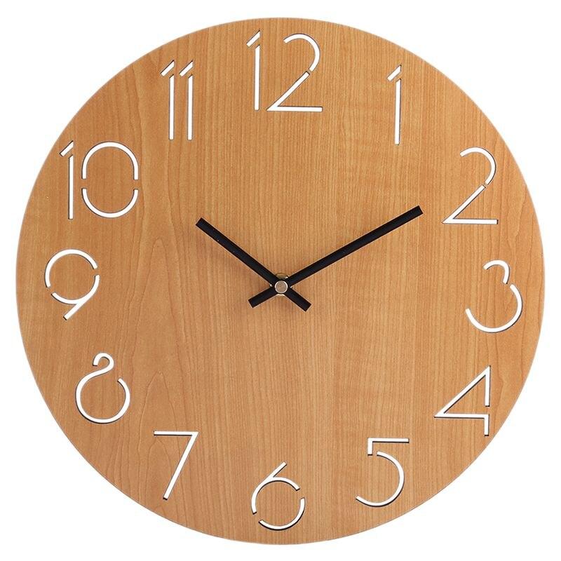Reloj de pared creativo para sala de estar minimalista moderno hogar redondo personalidad silenciosa madera sólida de moda (marrón claro)