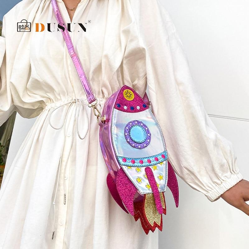 Bolso cruzado con forma de cohete láser para mujer, bolsos y bolsos de hombro, bolso Casual para chicas, bolso de mano, bolso de mano, bolsos de cuero PU