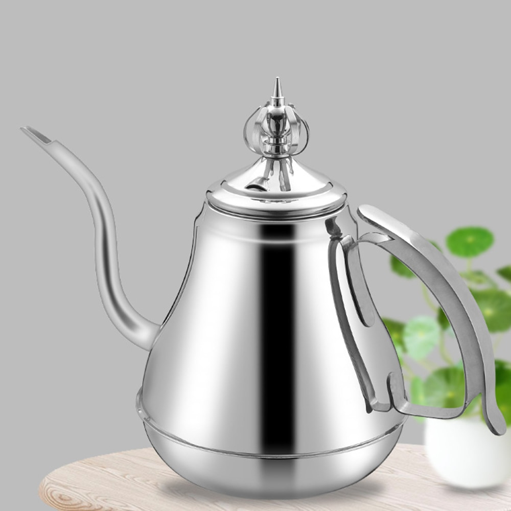 1.2/1.8L Gooseneck Kettle Stainless Steel Tea Pot with Tea Strainer Teapot Hotel Coffee Pot Induction Cooker Kettle Teaware Sets