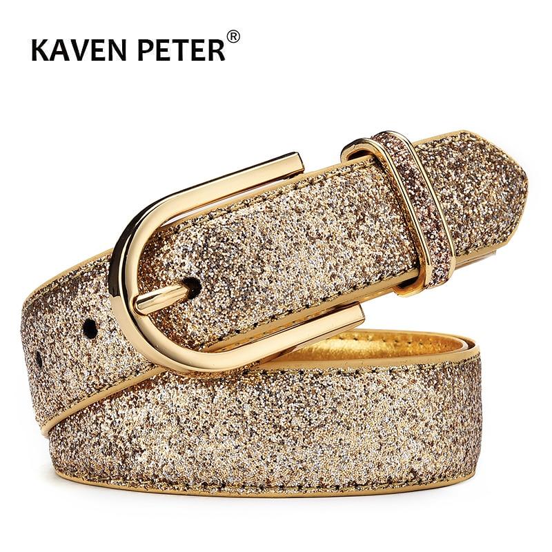 Fashion Women Glitter Gold Belt Female Silver Pu Waist Belt High Quality Cummerbund Ceinture Femme
