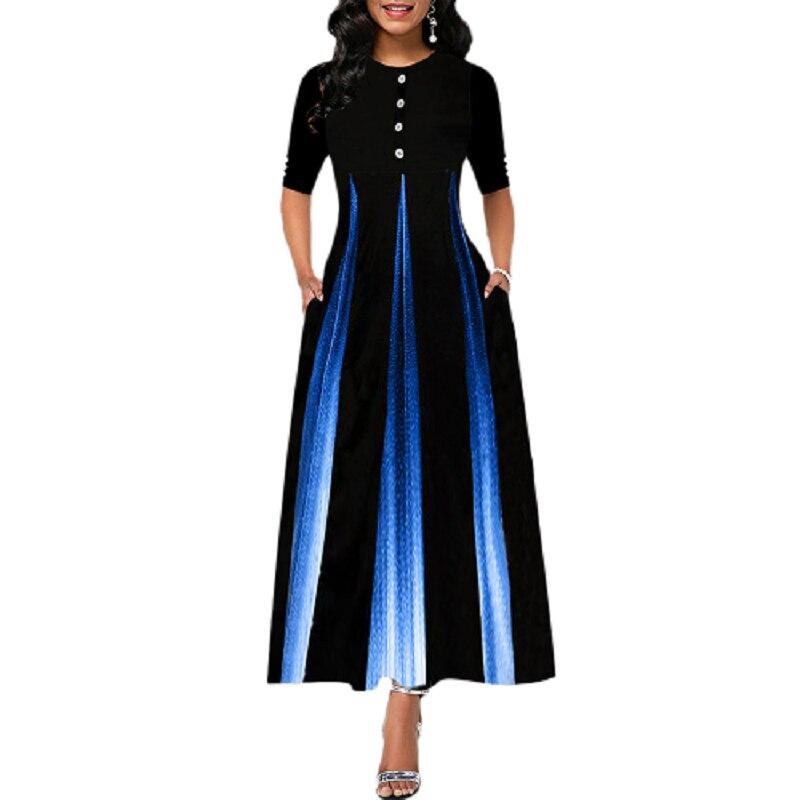 Plus Size Womens Vintage Swing Long Dress Half Sleeve Evening Party A-Line Dress 2020 Ladies Elegant Print Maxi Dresses S-5XL