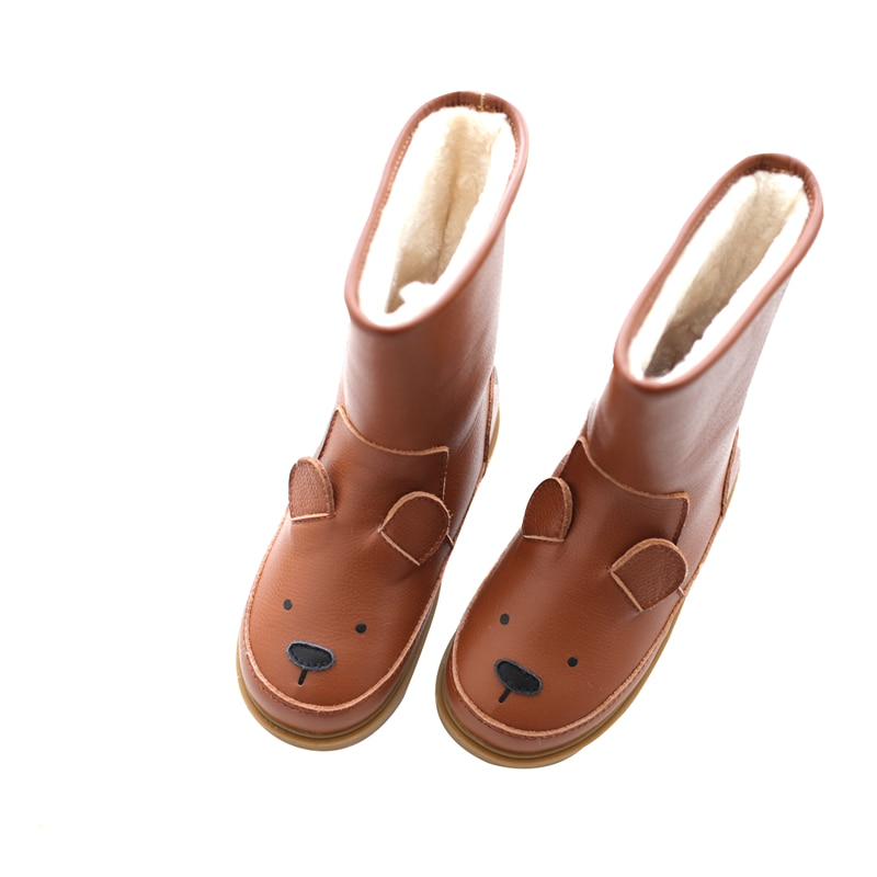 Cartoon Animals Children snow boots Genuine Leather rabbit kids shoes winter Warm Plush Girls Cute sneakers Boy's casual boots
