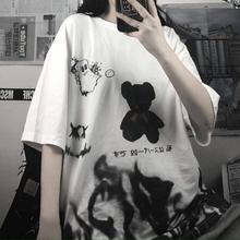 Cool Japanese Tshirt Streetwear Loose Summer T Shirt Women Harajuku Punk Half Sleeves T-shirts Tops Tee Hip Hop Bear Tshirts