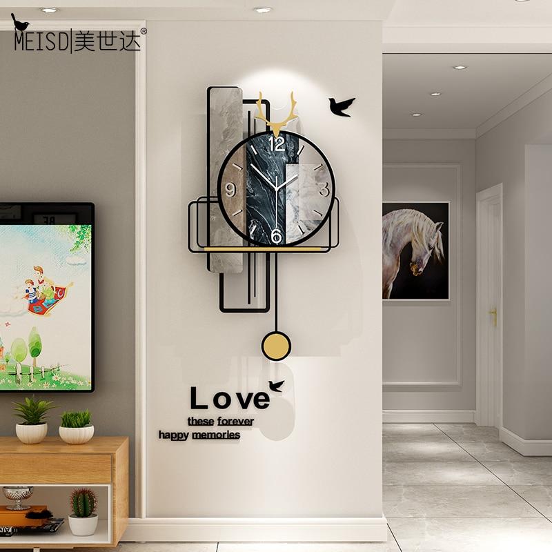 MEISD Design Vintage Wall Clock Creative Quartz Retro Watch Silent Home Decoration Living Room Horloge Wall Art Free Shipping