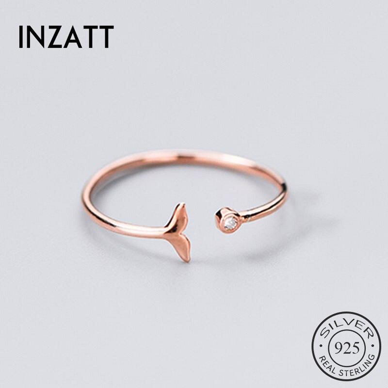 INZATT Plata de Ley 925 auténtica circonio cola de pescado anillo para fiesta de moda de las mujeres joyería fina Linda minimalista accesorios 2019 regalo