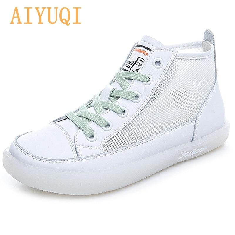 AIYUQI Women's Sneakers Genuine Leather 2021 Summer New Hollow Fashion Large Size White Shoes Women Casual Net Yarn Women Shoes