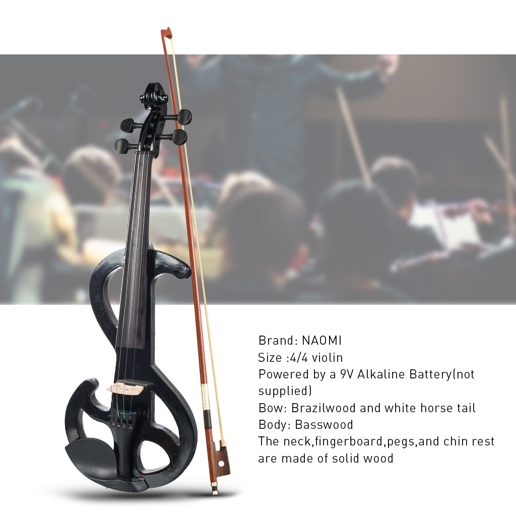 Full Size 4/4 Electric Violin Solid Wood Silent Fiddle Maple Body Solidwood Fingerboard Pegs With Violin Parts SET Black Violin enlarge