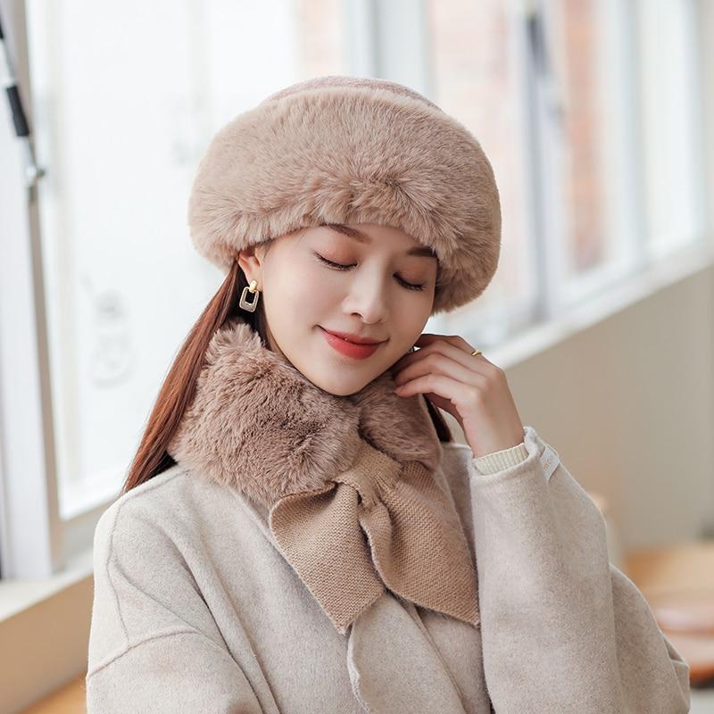 Женская зимняя Панама из искусственного меха, шапка и шарф, зимняя шапка для девочек, женская шапка, вязаный теплый шарф