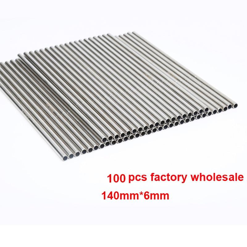 100 unids/lote pajilla de metal reutilizable e-co-friendly tubos de beber de acero inoxidable 140mm * 6mm pajillas rectas dobladas para beber