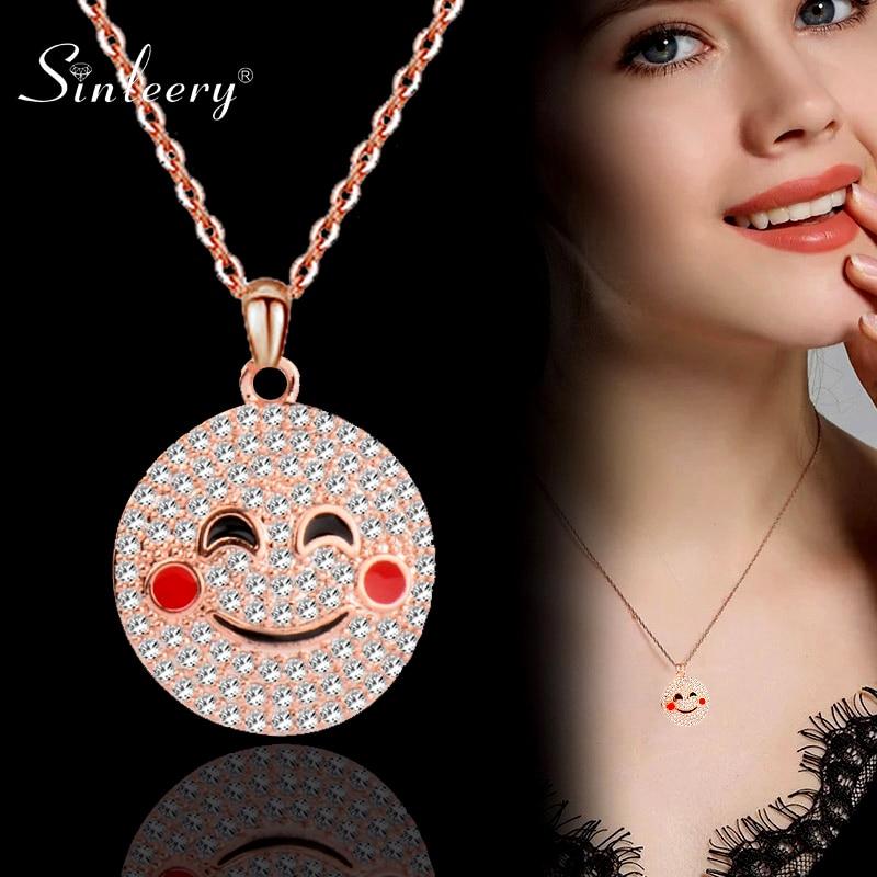 SINLEERY sonrisa sueño cara redonda diseño collar Rosa oro plata Color lindo Cristal de incrustación collar joyería de moda XL020 SSI