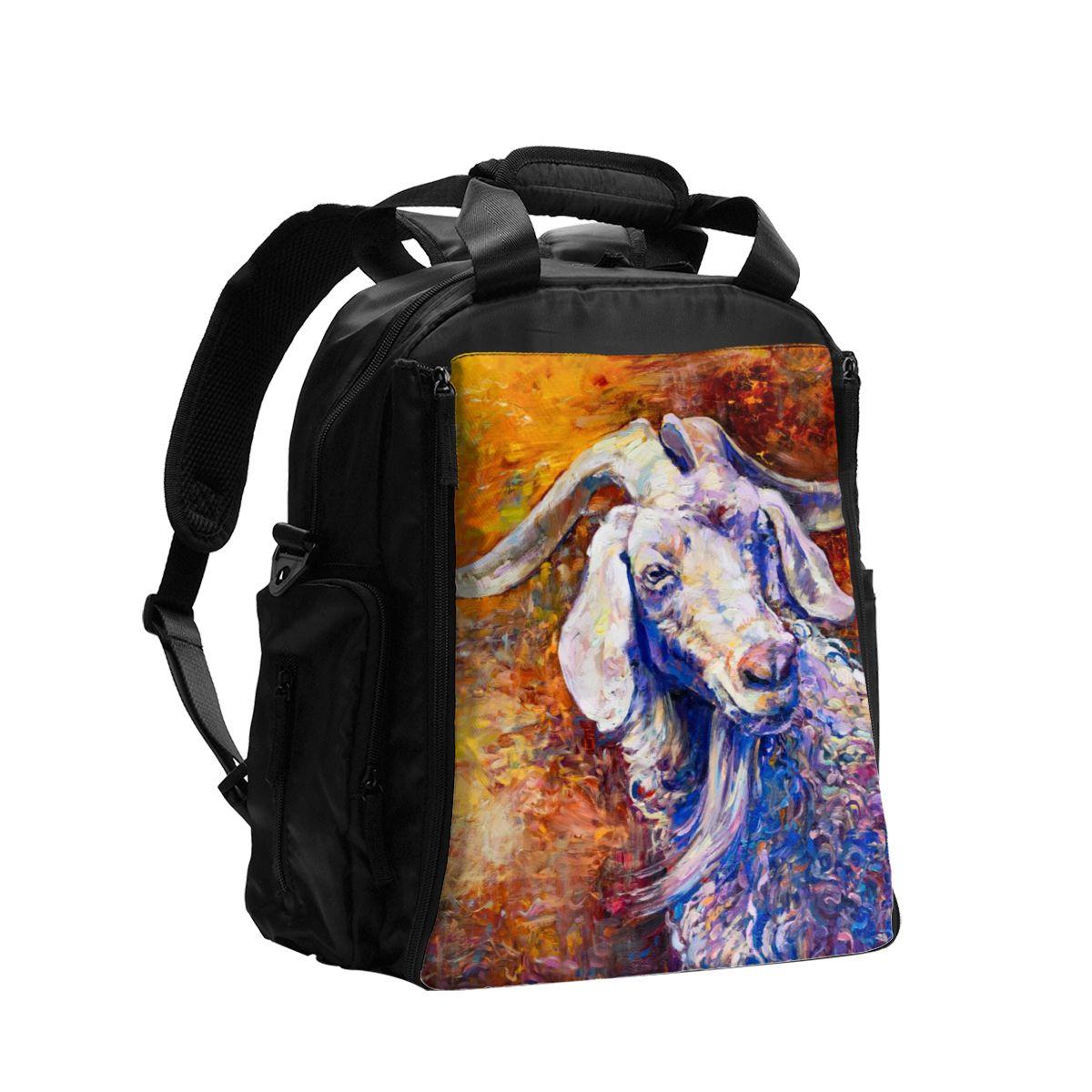 Bolsa de pañales para bebés retrato de cabra bolsa de maternidad para pañales desechables reutilizables de secado húmedo bolsa de doble ASA