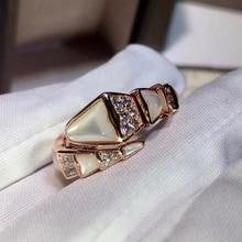 KT BV Rings 1:1 LOGO High Quality Rome Shining AAA White Stone Skeleton Snake Ring bvl Luxury Jewelr