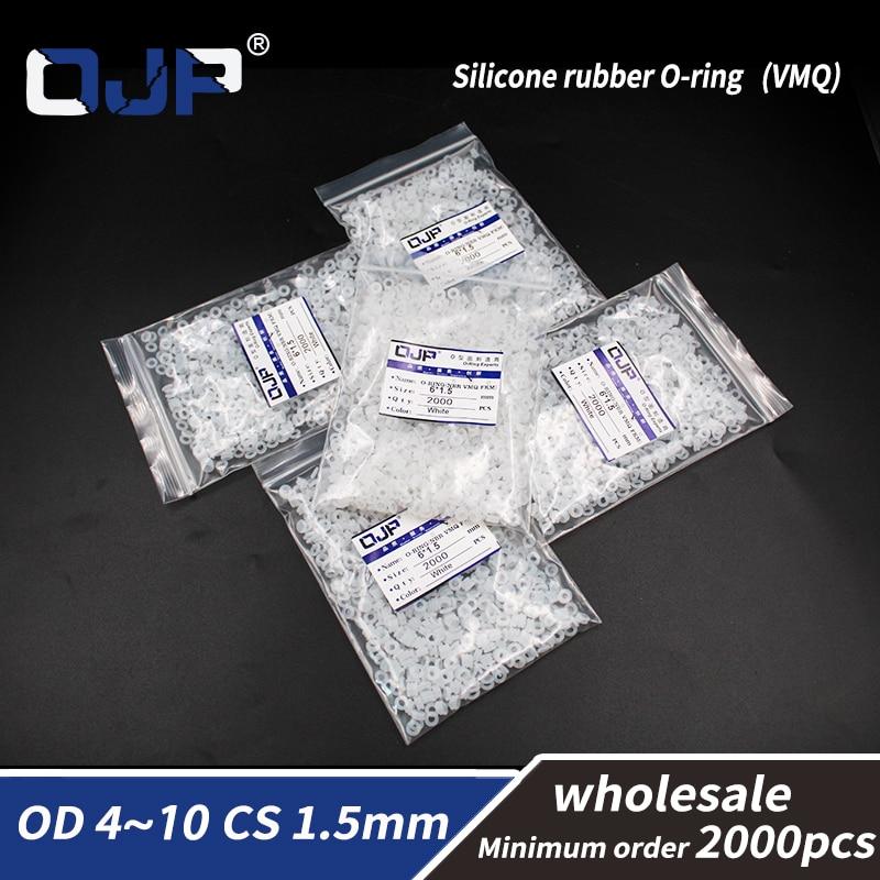 1,5mm de espesor, 2000 unids/lote, venta al por mayor, anillo redondo de silicona blanca de grado alimenticio, silicona/VMQ OD4/5/6/7/8/9/10mm, junta de goma de junta tórica