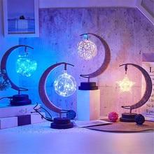 Led Night Lamp 3d Moon Stars Lamp Color Change Handmade Hemp Rope Usb Moon Lamp Kids Birthday Gift N