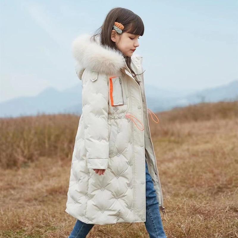 HSSCZL Girls white duck down jackets 2021new fashion winter thicken long girl coat outerwear overcoat children kids clothes enlarge
