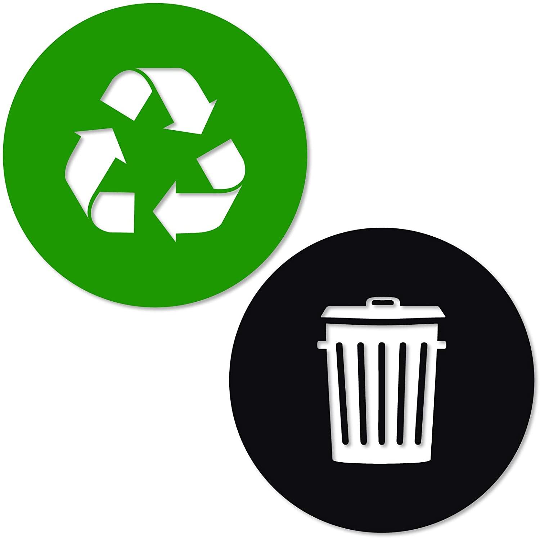 Reciclar y basura de la etiqueta engomada vinilo moderno logotipo, símbolo para...